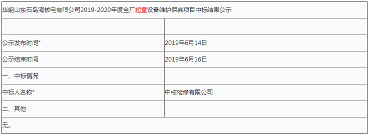华能山东石岛湾核电有限公司2019-2020年度全厂起重设备维护保养项目中标结果公示